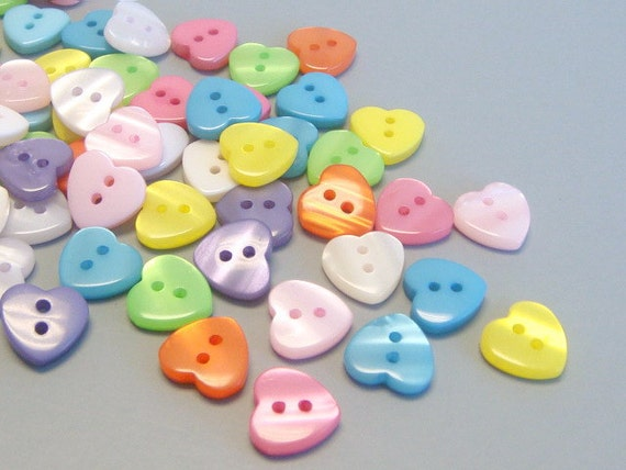 Lot of 100  Heart Buttons 10 Colors...Sewing...Craft...EB39