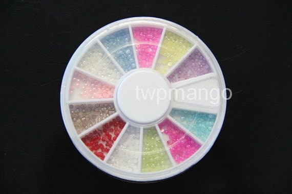 720pcs Faux Pearl plus Wheel Container...2mm...12 colors...Nail Art..... N15