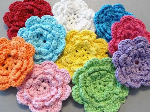 10 Large Handmade Crochet Flower Appliques... 2.75 inch...10 Colors...EA162