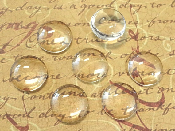 20 Clear Glass Cabochon Dome...16mm...Cameo...Transparent...N22