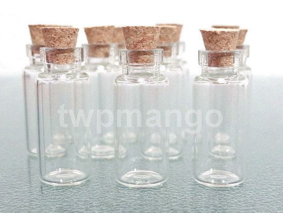 10 Clear Glass Bottles Vials with Corks ......2ml-10