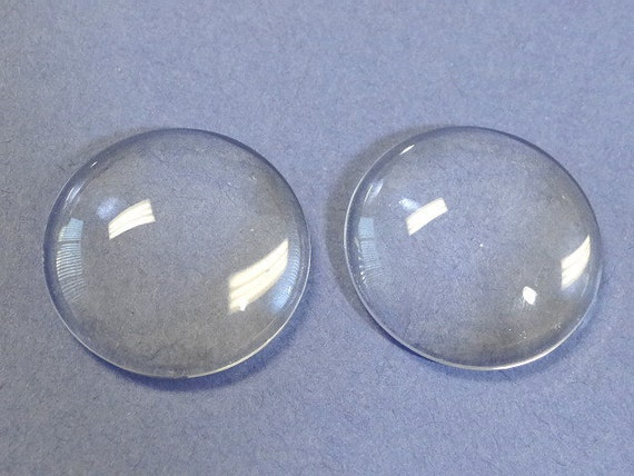 10 Clear Glass Cabochon Dome...30mm...Cameo...Transparent...N26