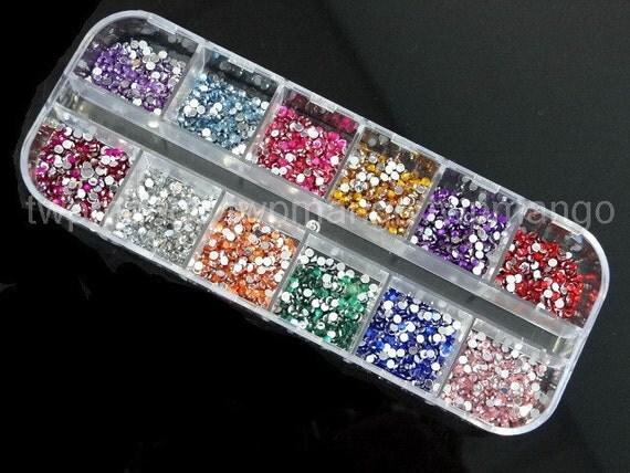 2mm Rhinestones plus Case...6000pcs...Glitter...12 Colors...Nail Art....N71