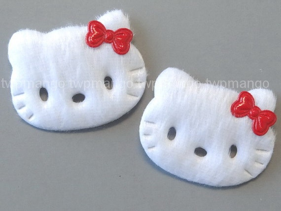20 white furry felt kitty cat appliques sewing craft ea235 for Furry craft