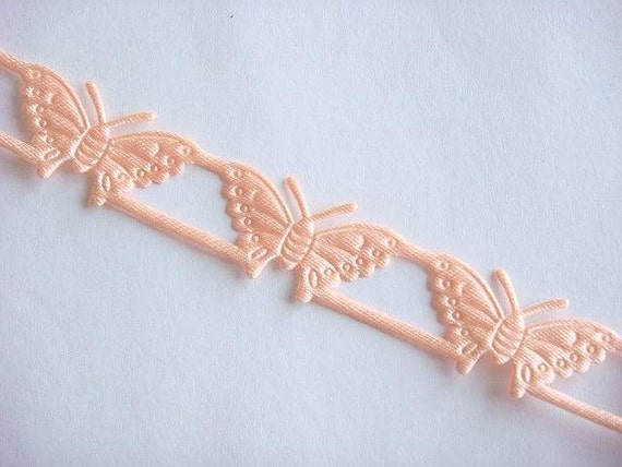 5 Yards Peach Satin Embossed Butterfly Trim Scrapbooking T7