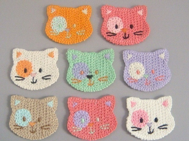 8 Crochet Cat Face Appliques 8 Colors EA139