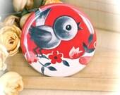 POCKET MIRROR - 2.25 Inch - Vintage Bird in Red - (PM-002)