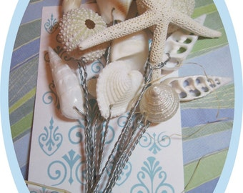 Glittery Starfish, Seashells and Sea Urchins for Wedding Bouquets and Centerpieces
