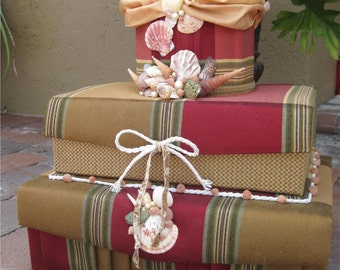 Envelope Box for Beach Weddings - Card Box - Wedding Envelope and Gift Box with Seashells and Starfish