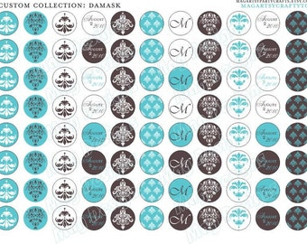 88 3/4 inch Round Aqua Damask Stickers for Hershey Kisses and favors