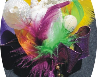 Mardi Gras Seashell and Starfish Boutonniere with Feathers