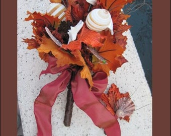 Rustic Bouquet Autumn Seashell and Fall Leaves Bridal Bouquet and Boutonniere Set