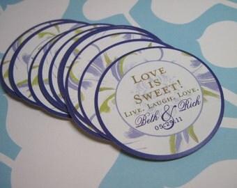 Wedding Candy Buffet Bar Tags 50 - 2 inch  - customizable Lavender Swirl