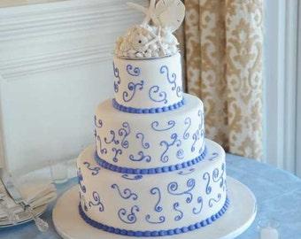 White Starfish and Seashell Beach Wedding Cake Topper