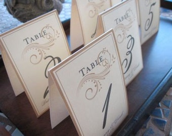 Table Numbers - Wedding Table Numbers - Elegant Scroll Table Numbers - Customizable 4x6 - 10 Table Tented Table Numbers