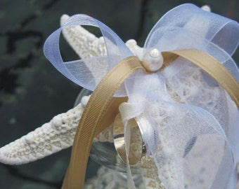 Knobby Starfish and Pearl Ring Bearers Pillow