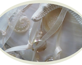 Ring Bearer's Pillow Shell with Rhinestones and Seashells
