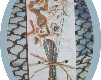 Drilled and Wired Starfish with Pearl Stems - Swarovski Crystals in center of Starfish - Wire Starfish for Wedding Bouquets