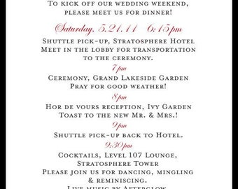 Wedding Itinerary - Las Vegas - Elegant Black Grey and Red or Fuschia Wedding and Event Itinerary cards - sample