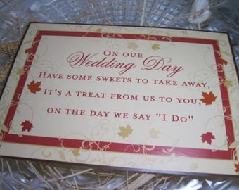 Fall Wedding Reception Candy Buffet or Candy Bar Sign for Weddings and Special Events