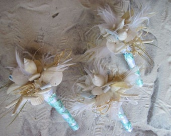 Bridal Seashell Beach Wedding Bouquet Tiffany and Natural White with Sandollars and Starfish