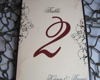 Vineyard Table Numbers - Rustic Elegant and Vintage Flat Table Numbers Customizable