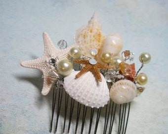 Wedding Hair Comb Bridal Natural Seashell and Starfish Hair Comb Headpiece with Pearls Crystals for Beach Weddings