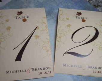 Table Numbers Autumn Leaf  Fall Colors Customizable 5x7 1-20 Tented
