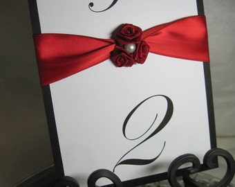 Elegant Table Numbers - Elegant Red Roses and Pearl