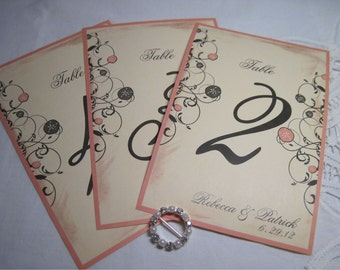 Beach Wedding Table Numbers with Sandollars 4 x 6 1-20