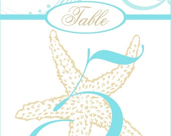 Personalized Beach Wedding Table Numbers Starfish Tags Customizable Beach Decor Wedding Decorations