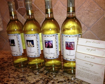 Bridal Party Gifts - Custom Starfish Photo Wine Labels Will you be my Bridesmaid