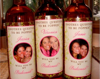 Personalized Bridesmaid Wine Labels Bridal Party Gifts - Custom Bridesmaid Wine Labels for each member of your Bridal Party