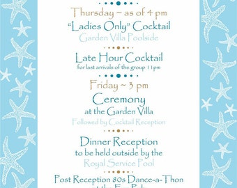 Itinerary Cards in Blue Starfish for Beach Weddings - sample - convo to order your quantiti