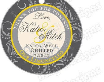 Limoncello Favor Tags - 1.5 inch round tags - cake pops - favors - limoncello favor tags