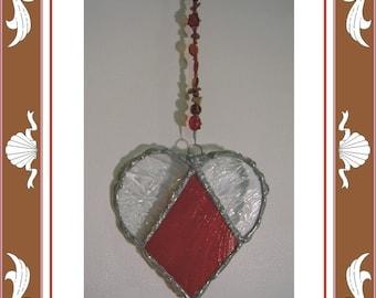 Stained Glass Heart - Red Heart Suncatcher - Weddings