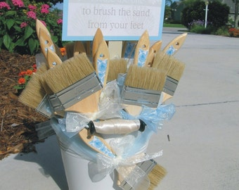 Beach Weddings Sand Brushes and Pail to brush the sand from your feet - customizable