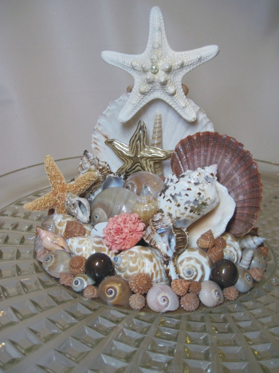 vintage jewelry and seashell wedding cake topper. Black Bedroom Furniture Sets. Home Design Ideas