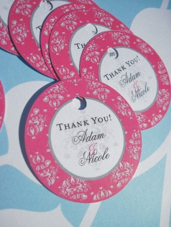 50 2 inch Round Thank you tags for gifts, wine bottles, favors