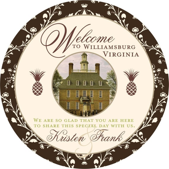 25 4 inch Round OOT Welcome Tags for Wedding Hotel Guests Williamsburg