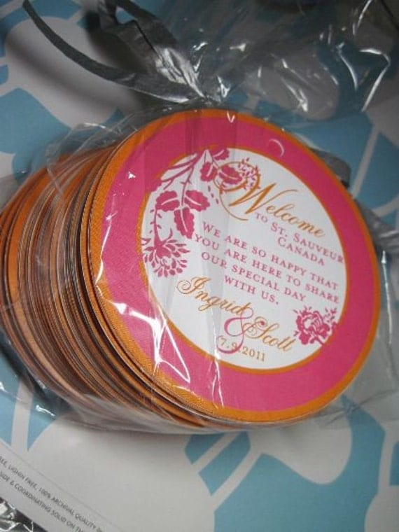 25 4 inch Round Garden Wedding OOT Thank you tags for gifts, wine bottles, favors