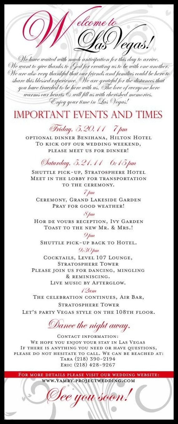 40971 >> Wedding Itinerary Las Vegas Elegant Black Grey and Red or