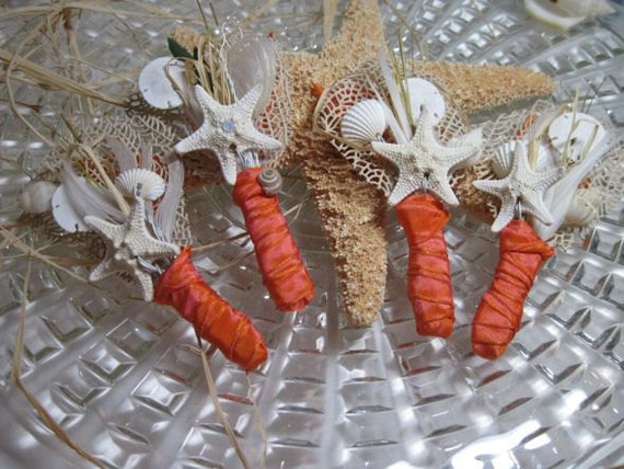 Grooms Boutonniere - Tangerine Starfish Seashell and Sea Fan  Natural and Handmade
