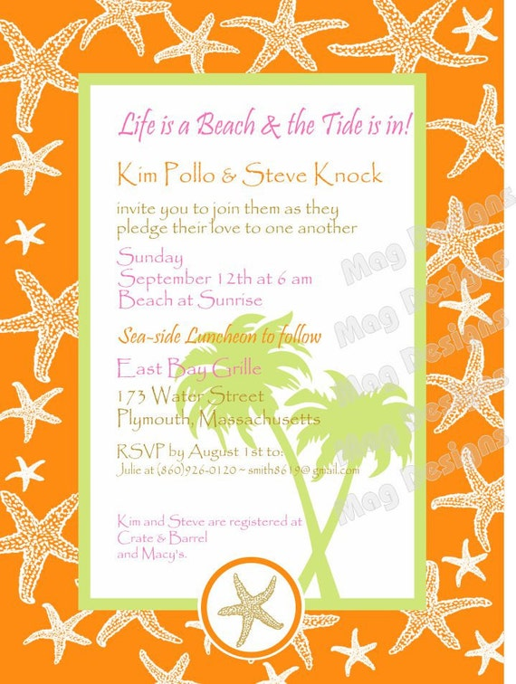 Tropical Starfish Rehearsel Dinner or Casual Wedding Invitation for weddings