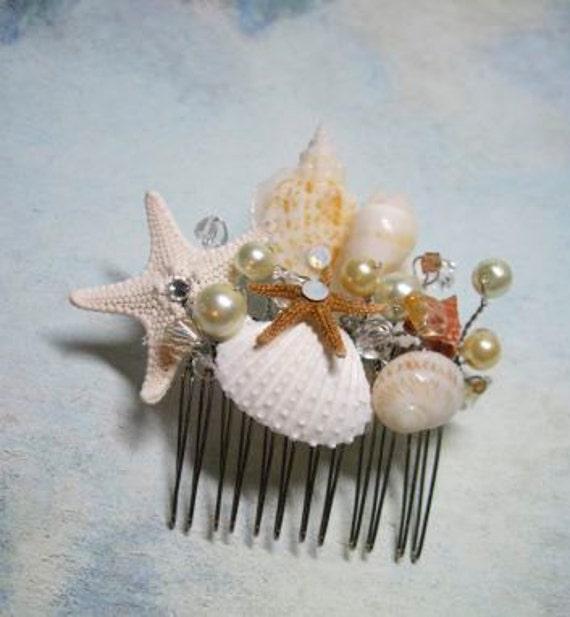 Wedding hair comb bridal natural seashell and starfish for Seashells for hair