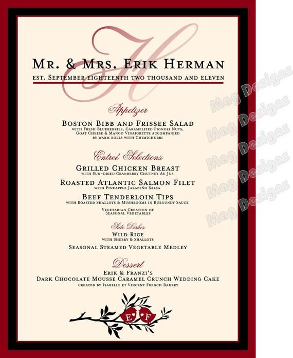 Items similar to wedding menu love birds for wedding for Menu reception amis