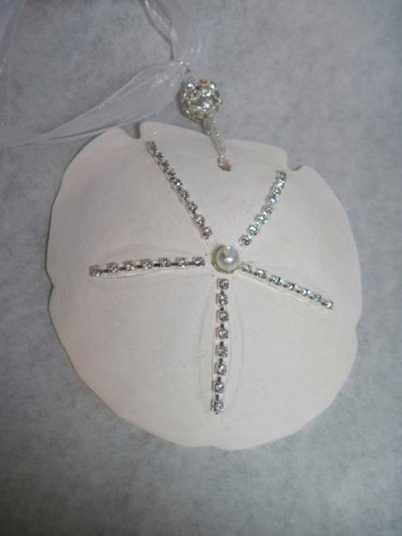 Sandollar Christmas Ornament - Large Elegant Sparkly with Crystals Opals for Holidays and Beach Weddings