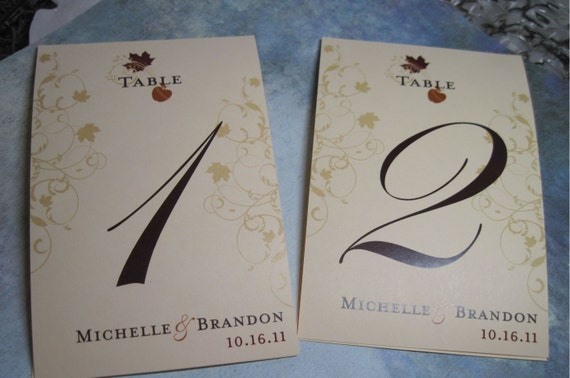 Private Listing for idokristinschrumpf Table Numbers Autumn Leaf  Fall Colors