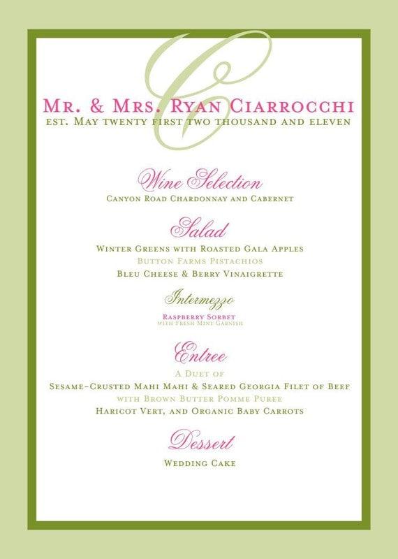 Beach wedding reception menu elegant and simple for bridal for Menu reception amis