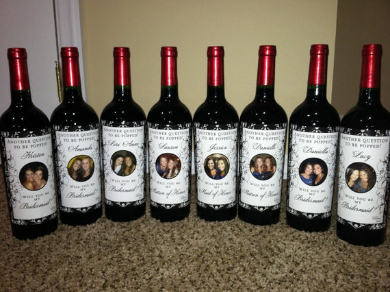 Bridal Party Gifts - Custom Wine Labels for each member of your Bridal Party